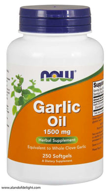 Picture of Now Brand Vitamin Bottle of Garlic Oil 1500 mg - 250 Softgels