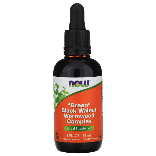 Picture of Now Brand Liquid Green Black Walnut Wormwood Complex Vitamin Bottle with Dropper