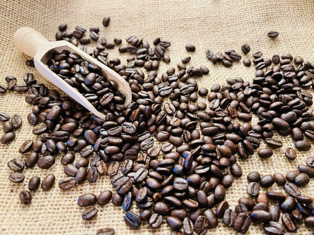 Picture of Gourmet Organic Medium-Dark Roast Whole Bean Coffee Beans with Scoop on Burlap Sack