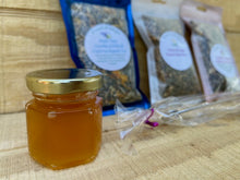 Load image into Gallery viewer, Candida & Fibroid Fighting Organic Tea Gift Set with Tea Ball, and Honey on Wooden Counter Top