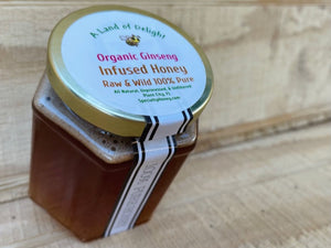 Specialty Gourmet Honey: Organic Ginseng Infused Raw Honey - 12oz Jar