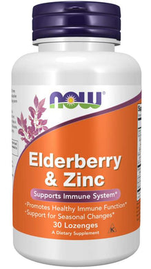 Picture of Orange Now Brand Vitamin Bottle of Elderberry & Zinc Lozenges 30 Lozenges