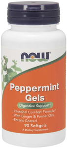 Vitamin Bottle of Now Brand of Peppermint Gels - 90 Softgels