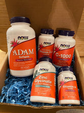 Load image into Gallery viewer, Picture of the Men's - Power 5 - Multivitamin, C, A,D & Zinc - 3 Month Supply Bundle in Gift Box with Blue crinkle paper fill