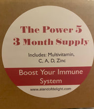 Load image into Gallery viewer, The Power 5 - Multivitamin, C, A,D & Zinc - 3 Month Supply