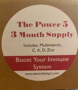 The Power 5 - Multivitamin, C, A,D & Zinc - 3 Month Supply