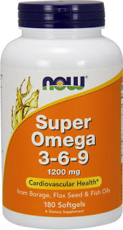 NOW BRAND VITAMINS - Super Omega 3-6-9 1200 mg - 180 Softgels