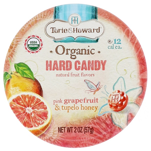 Torie and Howard Organic Hard Candy Tin, Pink Grapefruit and Tupelo Honey