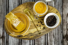 Load image into Gallery viewer, Specialty Gourmet Honey: Organic Turmeric & Black Pepper Infused Raw Honey - 12oz Jar