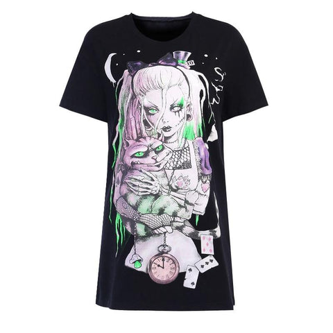 T-Shirt Gothique Cat Lover Lolita