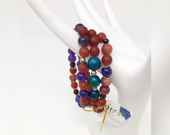 Red Jade, Amethyst, Chryscolla and Garnet Three Strand Bracelet