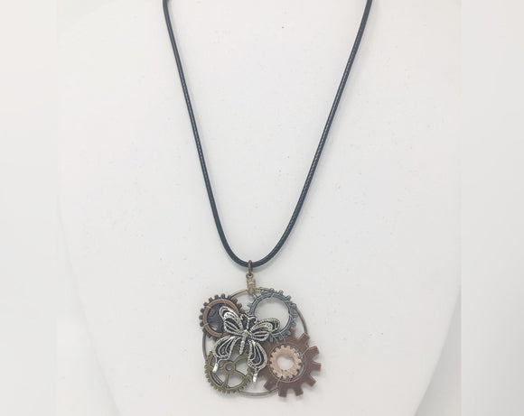 Steampunk Necklace with Butterfly and Gears
