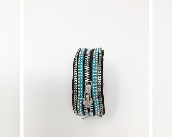 Black, Silver and Turquoise Zipper Bracelet