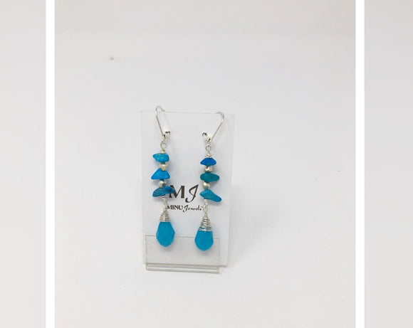 Turquoise and Blue Agate Silver Earrings