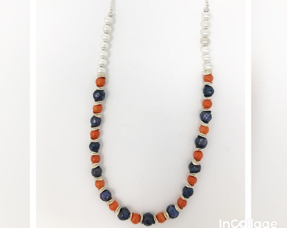 Coral Pearl Long Necklace