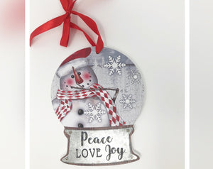 Snow Globe Snowman Ornament - Peace Love Joy