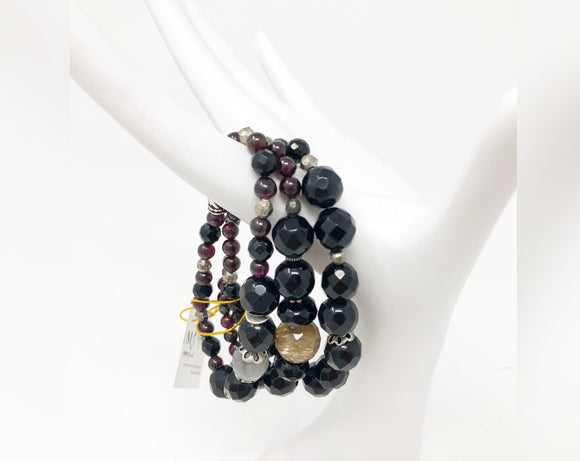 Black Onyx, Citrine, Gray Quartz and Garnet Three Strand Bracelet