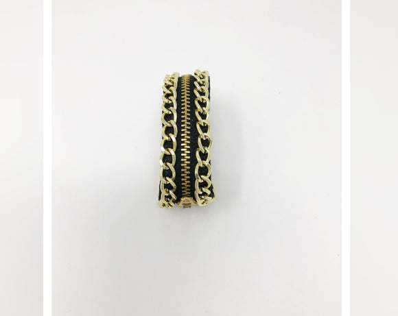 Black and Gold Zipper Bracelet
