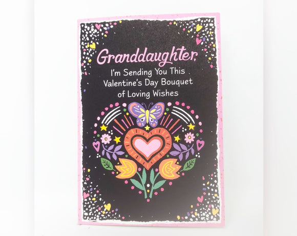 Granddaughter I'm Sending You This Valentine's Day Bouquet - Valentine's Day Card