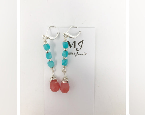 Cherry Quartz and Amazonite Earrings