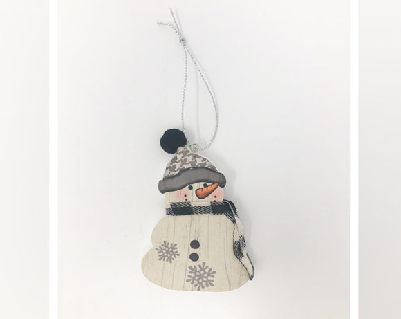 Snowman Ornament with Grey and White Hat