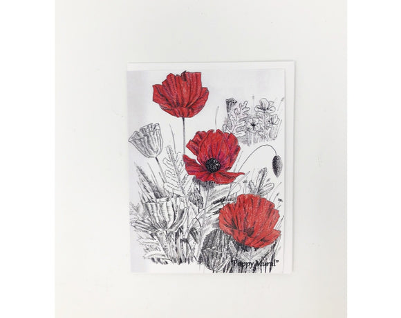 Card - Red Poppies  (Blank Card)