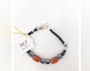 Carnelian Hematite and Black Onyx Suede Men's Bracelet