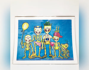 Dia de los Muertos Print - Sugar Skull Family on Vacation