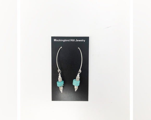 Sterling Silver Teardrop Earrings With Turquoise