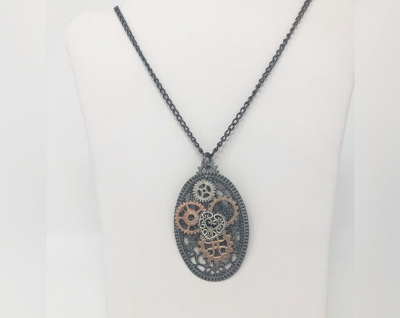 Steampunk Oval Necklace with Heart and Gears