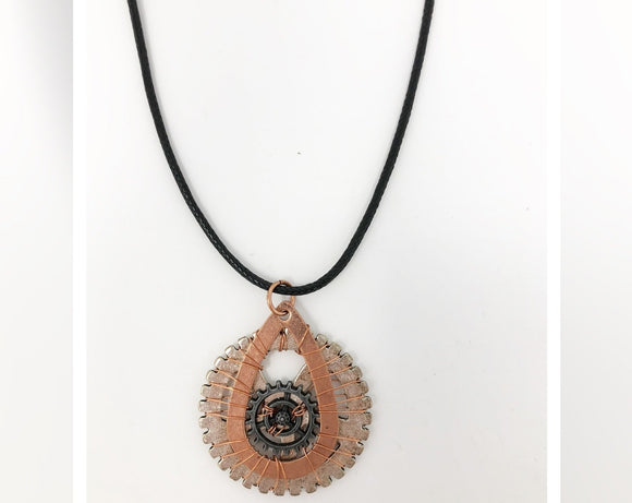 Steampunk Copper and Silver Gears Necklace