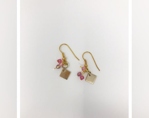 Gold Tone Earrings with Pink Crystals