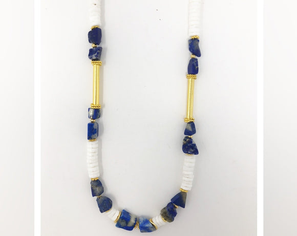 Shell Necklace with Lapis and Gold Accents
