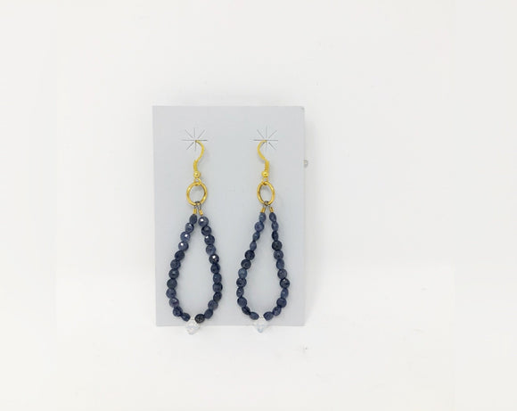 Iolite and Swarovski Crystal Dangle Earrings