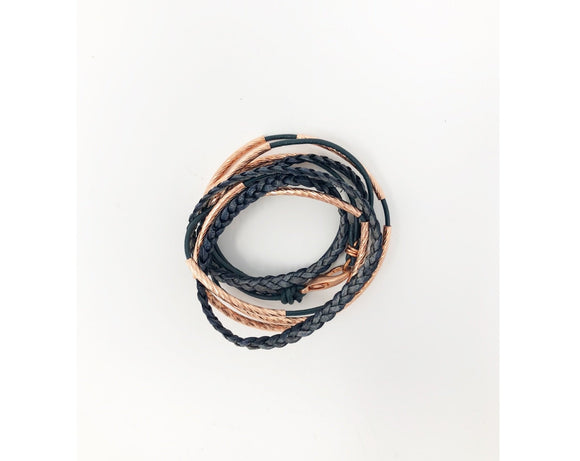 Blue Braid and Copper Wrap Bracelet