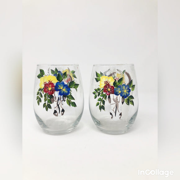 Hand Painted Stemless Wine Glasses (More Styles Available)