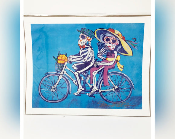 Dia de los Muertos Original Print - Bicycle Couple
