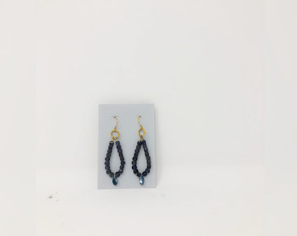 Iolite and Blue Swarovski Crystal Dangle Earrings