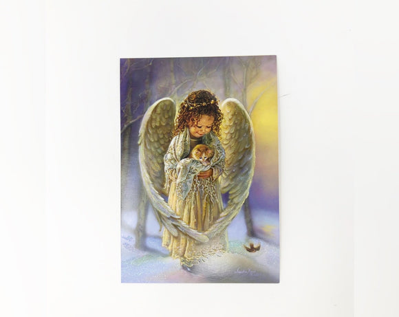 Young Angel with Kitten Holiday Card