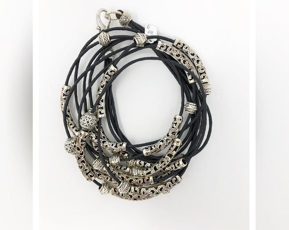 4-Strand Black Wrap Bracelet with Silver Beads and Tubes