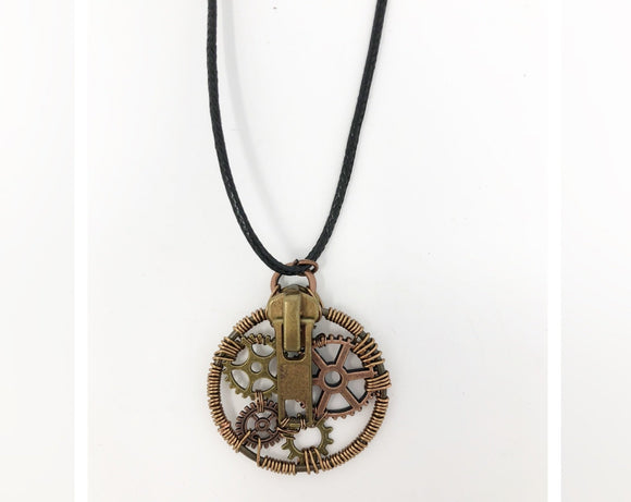 Steampunk Zipper and Gears Necklace