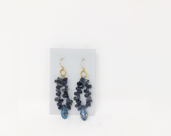 Multi-Size Iolite and Blue Swarovski Crystal Dangle Earrings
