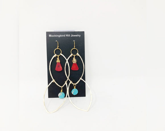 Double Hammered Gold Tone Wire, Coral and Turquoise Drop Earrings