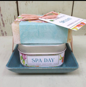 Spa Day Candle and Soap Dish Gift Set