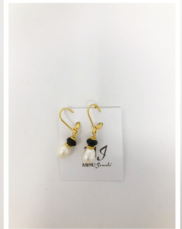 Pearl and Black Onyx Earrings