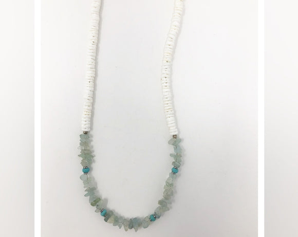 Aquamarine Shell Silver Necklace