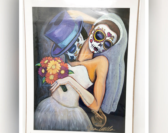 Dia de los Muertos Original Print - Sugar Skull Wedding