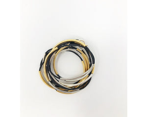 Black, Silver and Gold Wrap Bracelet