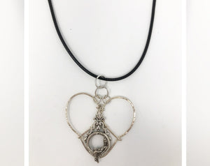 Silver Heart with Lady in the Moon Necklace