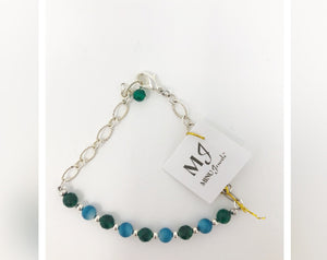 Blue Agate and Green Jade Silver Bracelet
